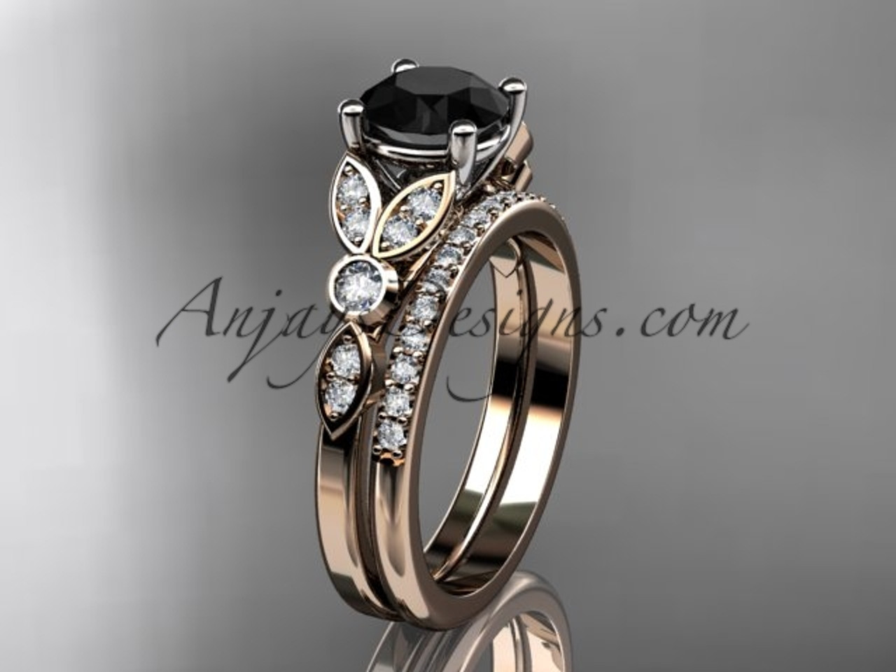 black rings sets custom gold band wedding diamond set il rose marquise him for personalized ring morganite fullxfull her stone engagement matching