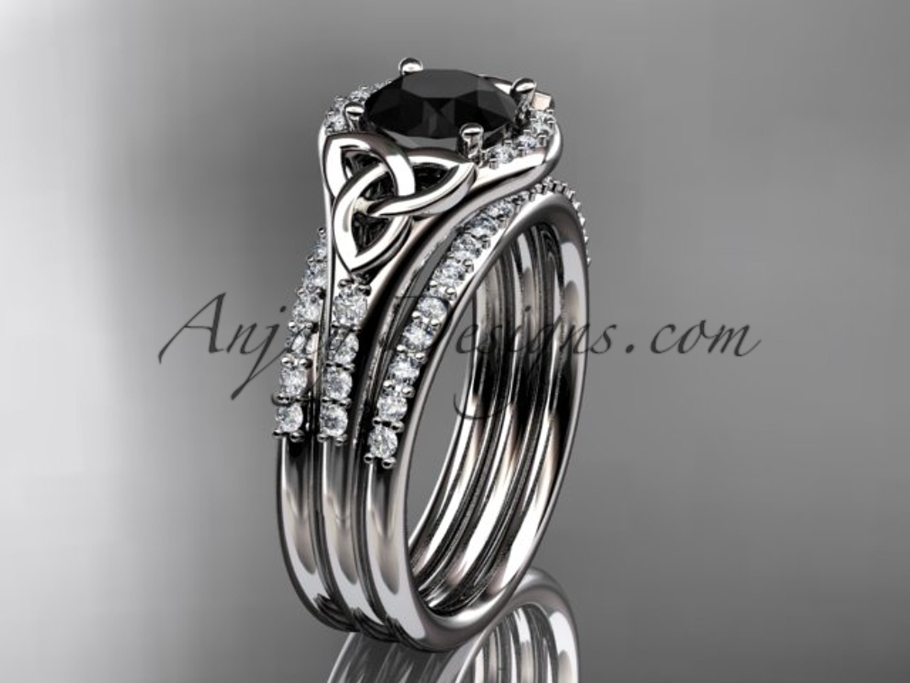 platinum diamond celtic trinity knot engagement ring wedding ring