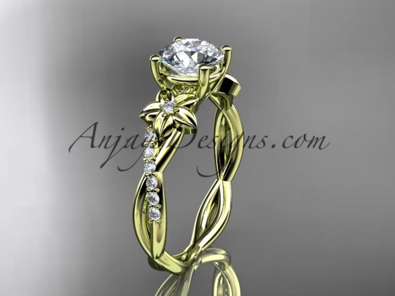 14kt yellow gold flower diamond wedding ring 14kt yellow gold flower diamond wedding ring engagement ring adlr388 mightylinksfo