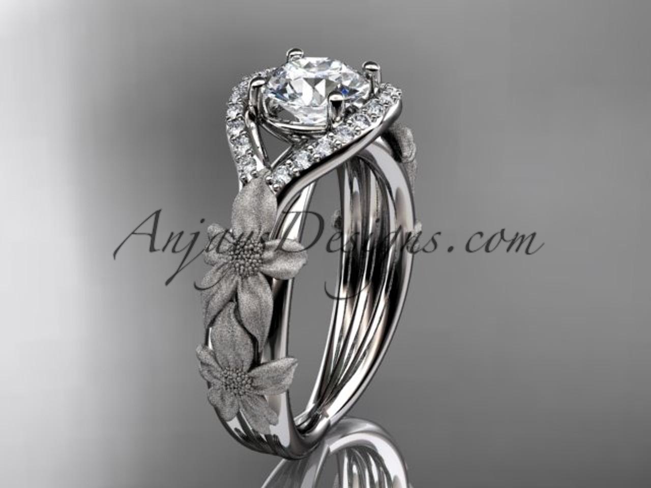 14kt White Gold Diamond Leaf And Vine Wedding Ring