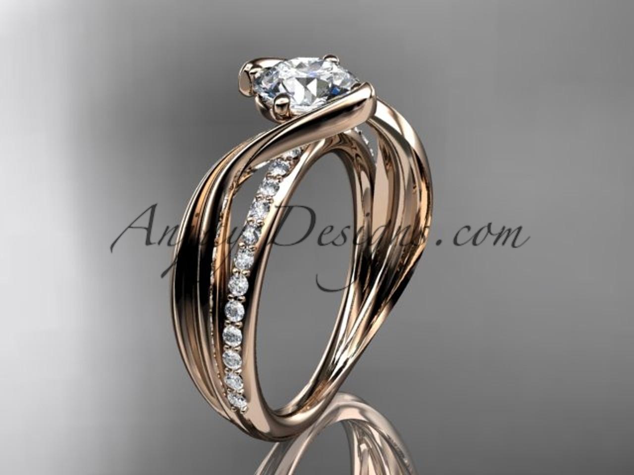 14kt Rose Gold Diamond Leaf And Vine Wedding Ring
