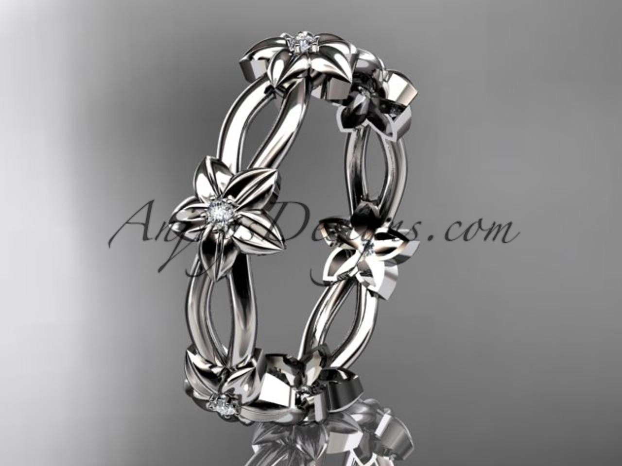platinum diamond leafvine flower wedding ringengagement ring