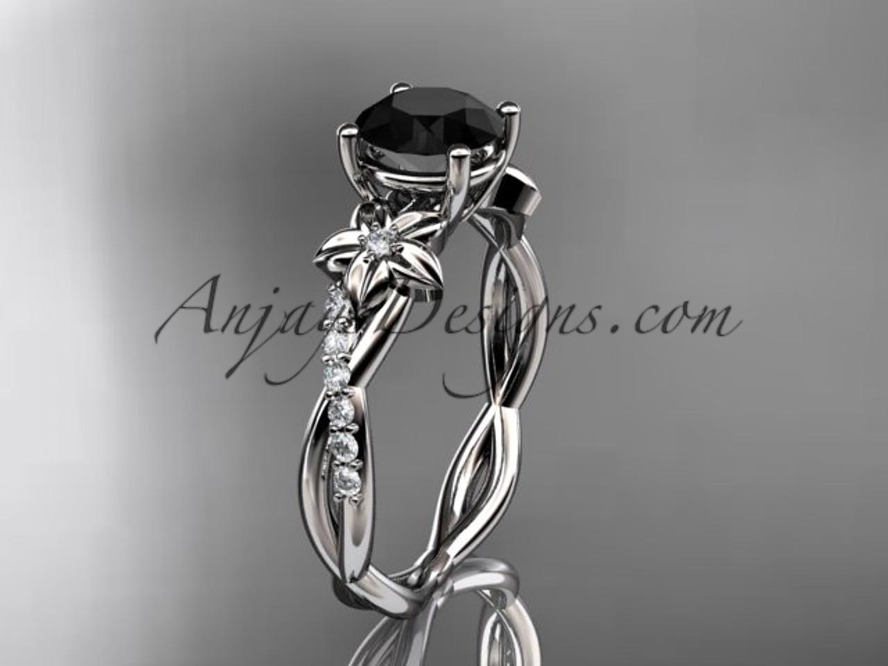 14kt white gold flower diamond wedding ring