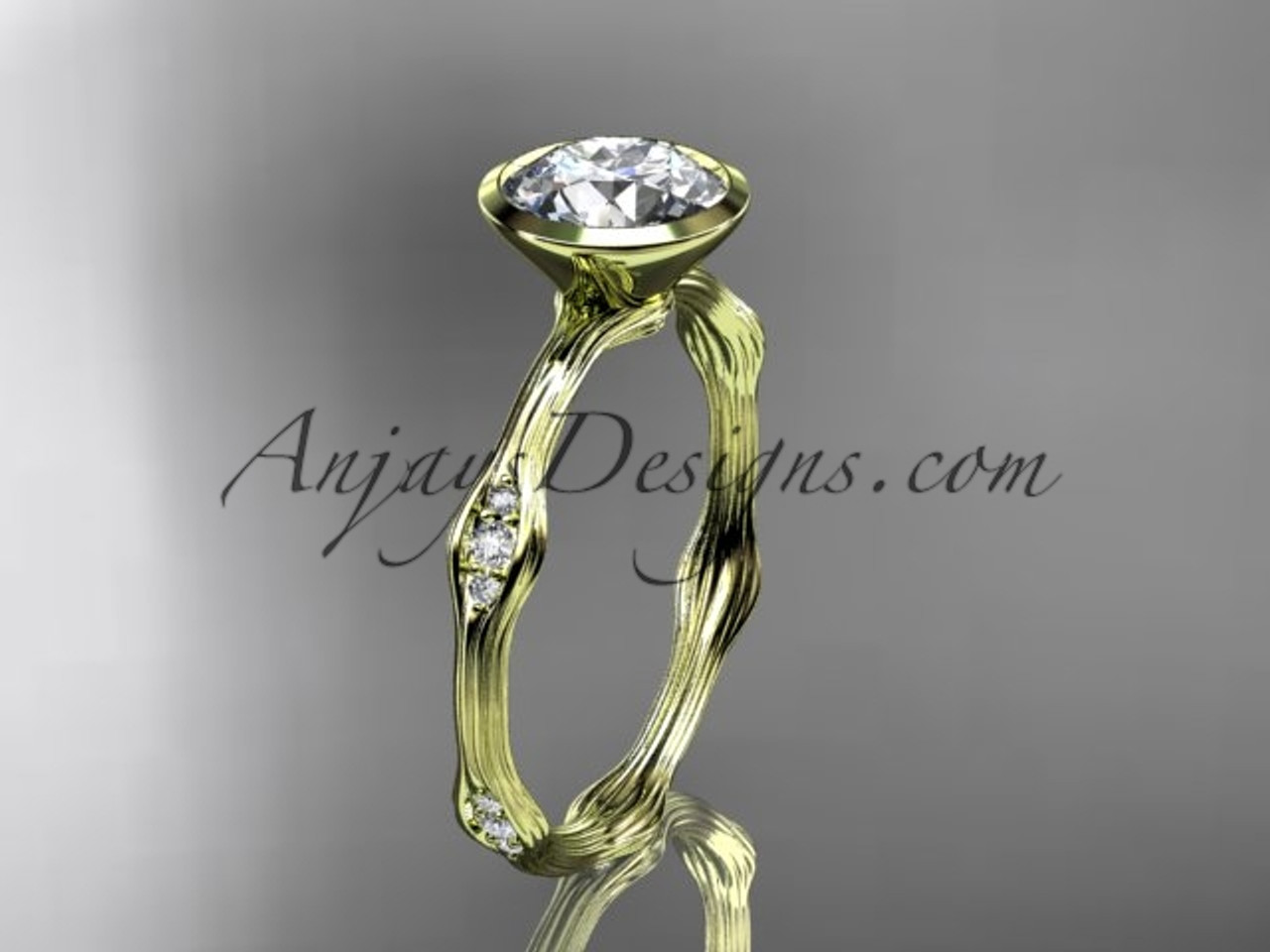 14k Yellow Gold Diamond Vine Wedding Ring Engagement Ring