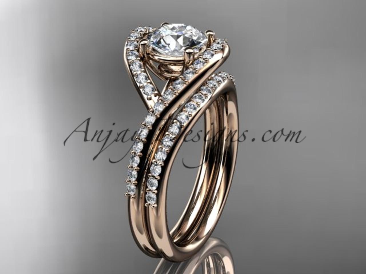 Rose Gold Bridal Ring Modern Wedding Set For Women Adlr383s