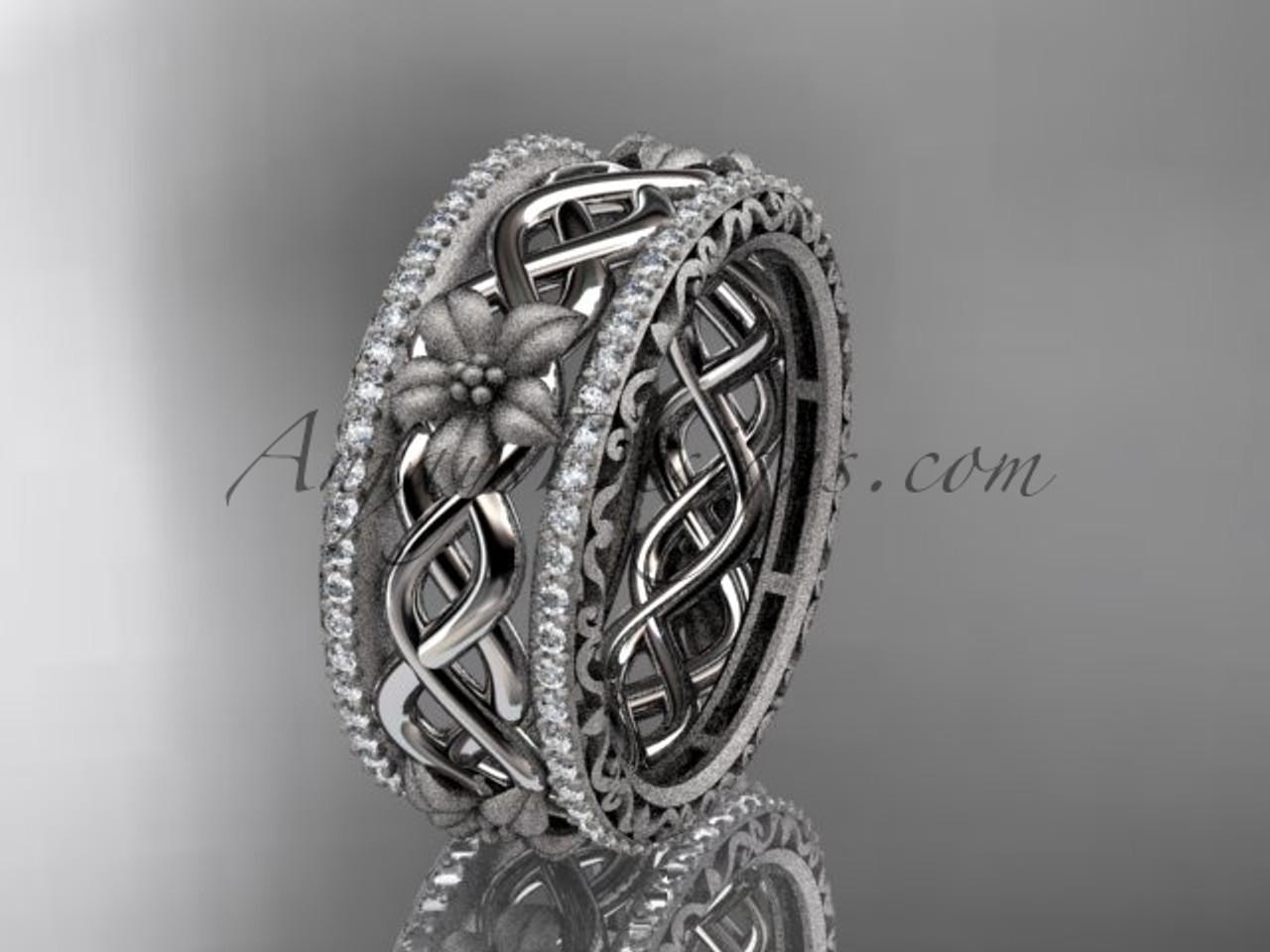 14k white gold diamond flower wedding ring engagement ring