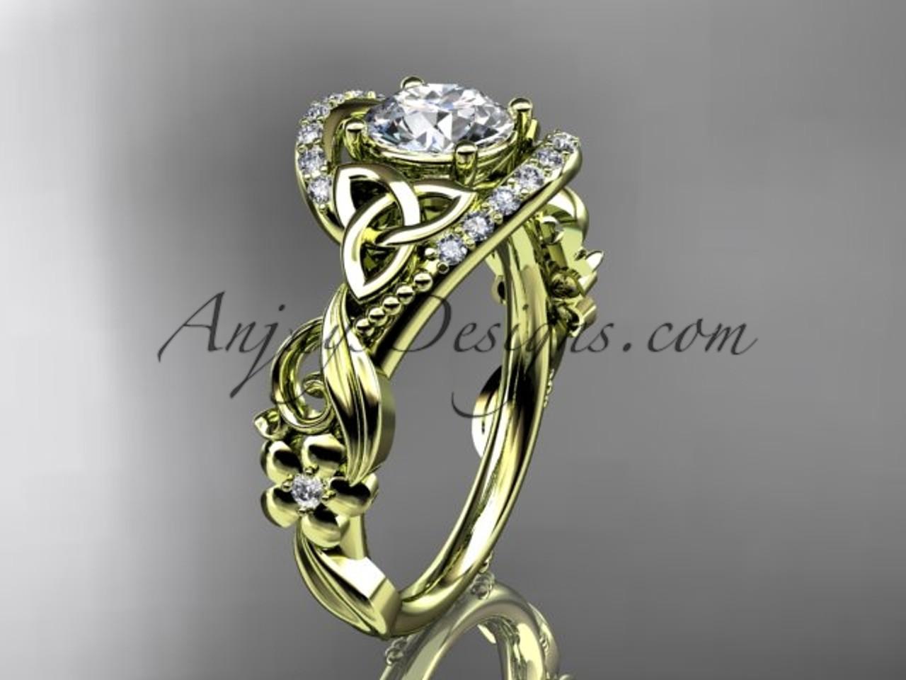 Yellow Gold Flower Ring, Celtic Diamond Bridal Ring CT7211