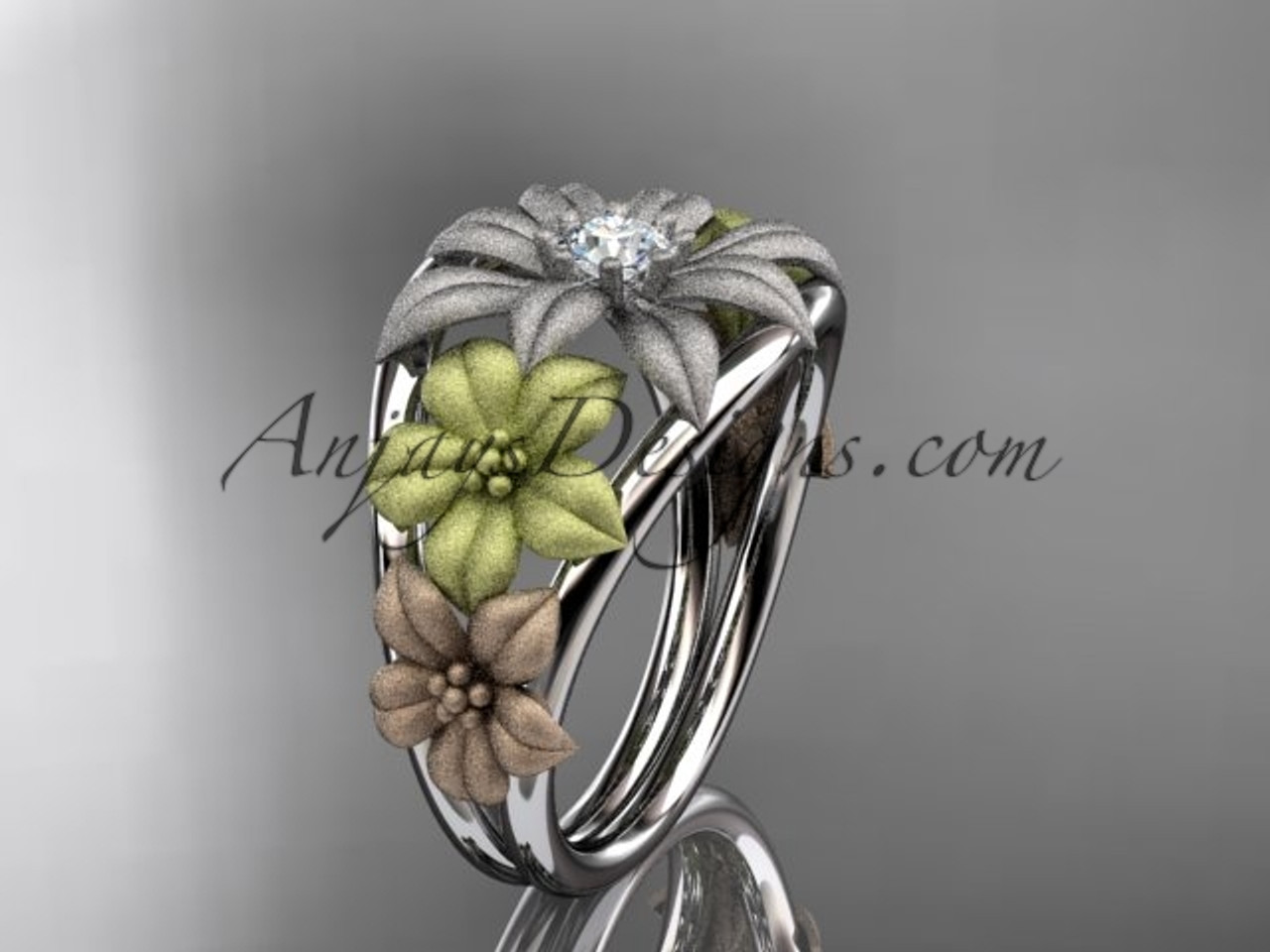 14kt tri color gold diamond floral wedding ring engagement ring