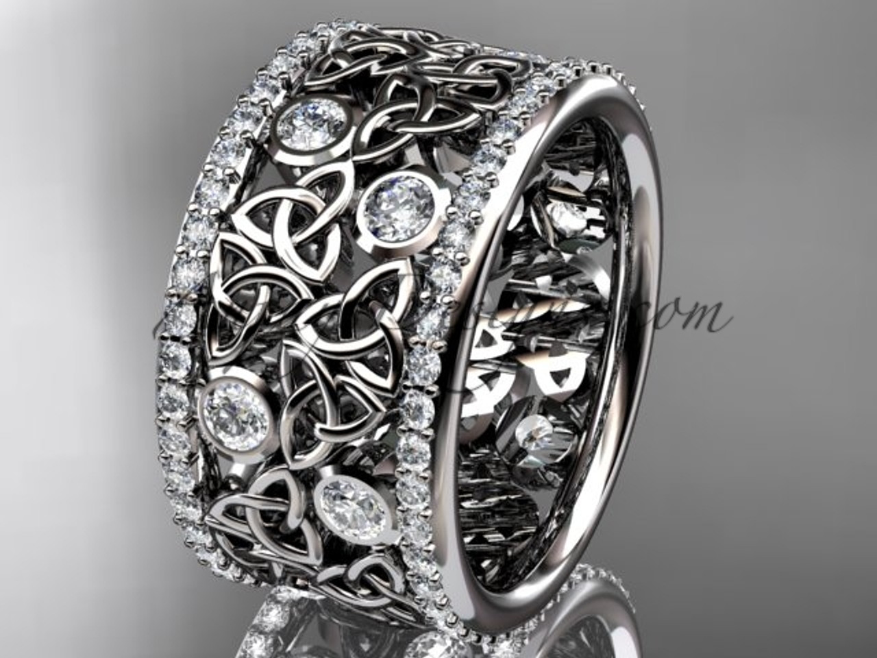 Band Diamond Wedding Rings Platinum Celtic Ring CT7507B
