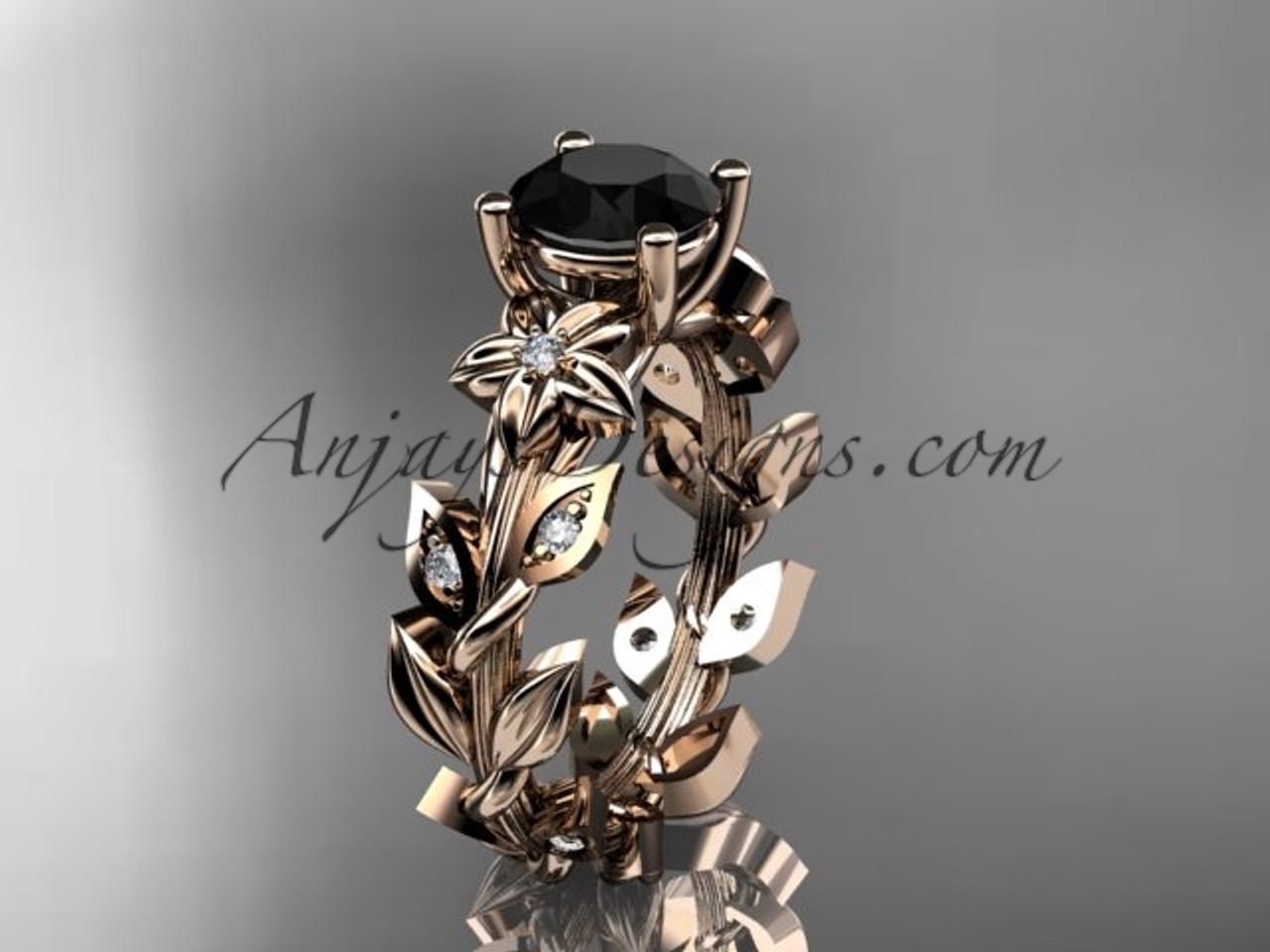 14k rose gold diamond floral leaf and vine wedding ring engagement