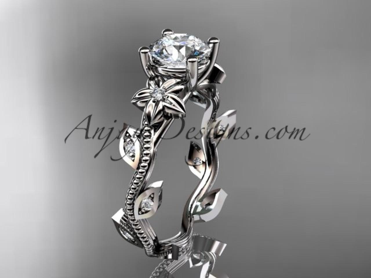Leaf Amp Flower Engagement Ring Diamond White Gold Adlr151