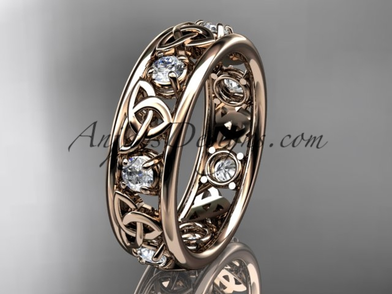 14kt Rose Gold Celtic Trinity Knot Wedding Band Ct7160b