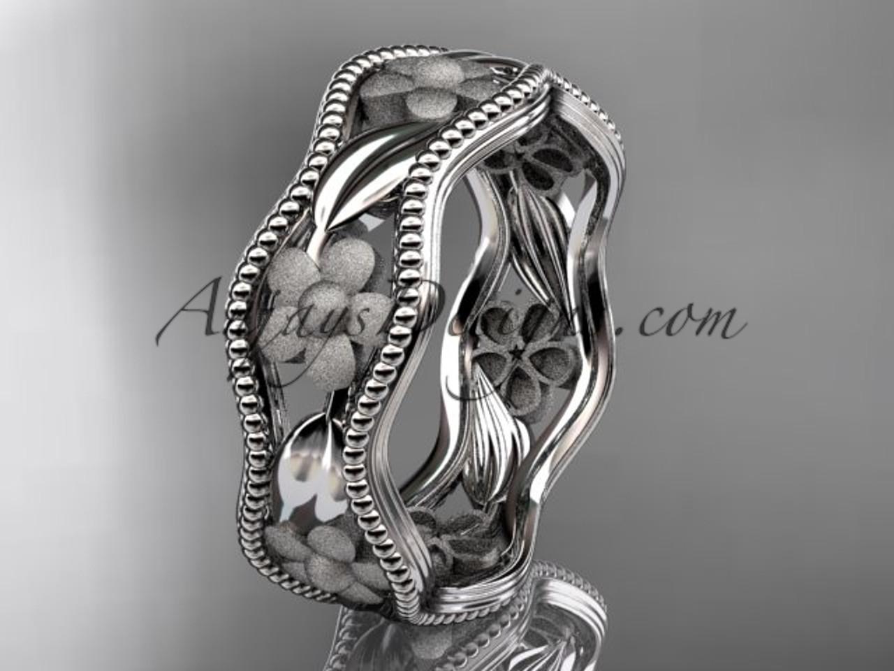 14k white gold diamond flower wedding ring engagement ring wedding band