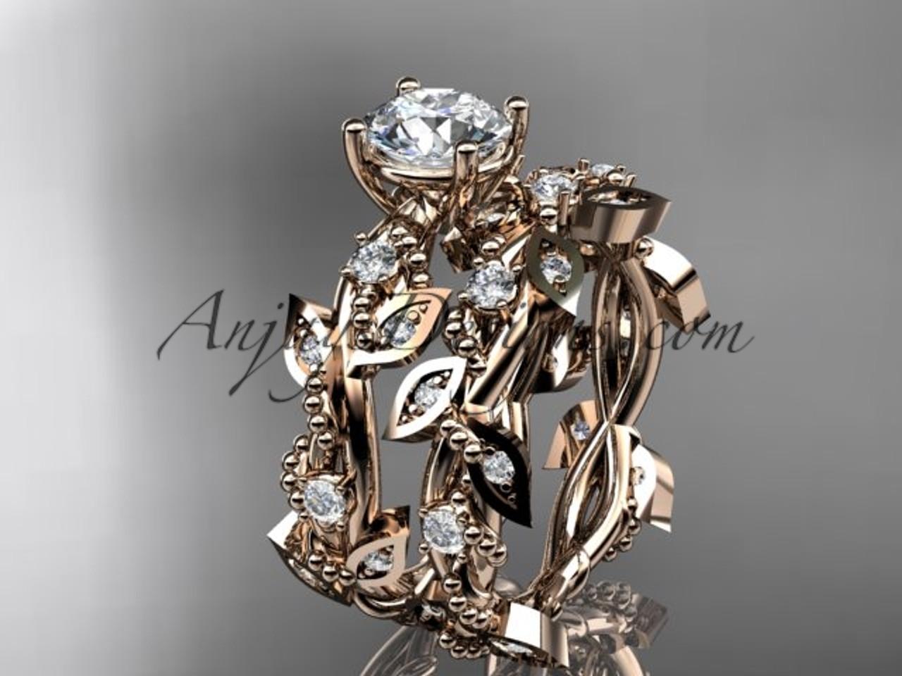 14k rose gold diamond leaf and vine wedding ring engagement ring