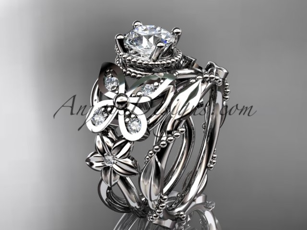 14kt white gold diamond floral butterfly wedding ring engagement ring