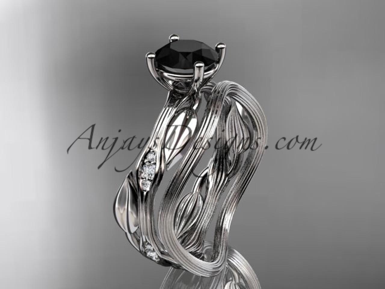 14k White Gold Diamond Leaf And Vine Wedding Ring Set Engagement