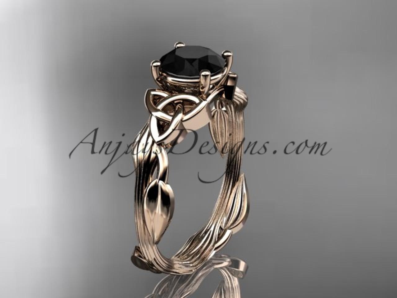 14kt rose gold diamond celtic trinity knot engagement ring wedding