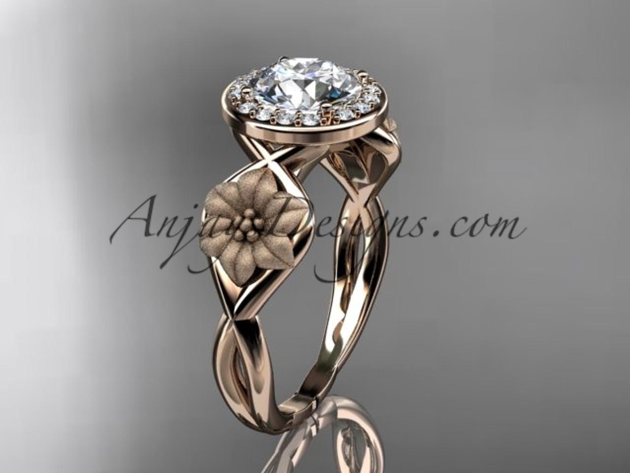 Unique 14kt Rose Gold Diamond Flower Wedding Ring