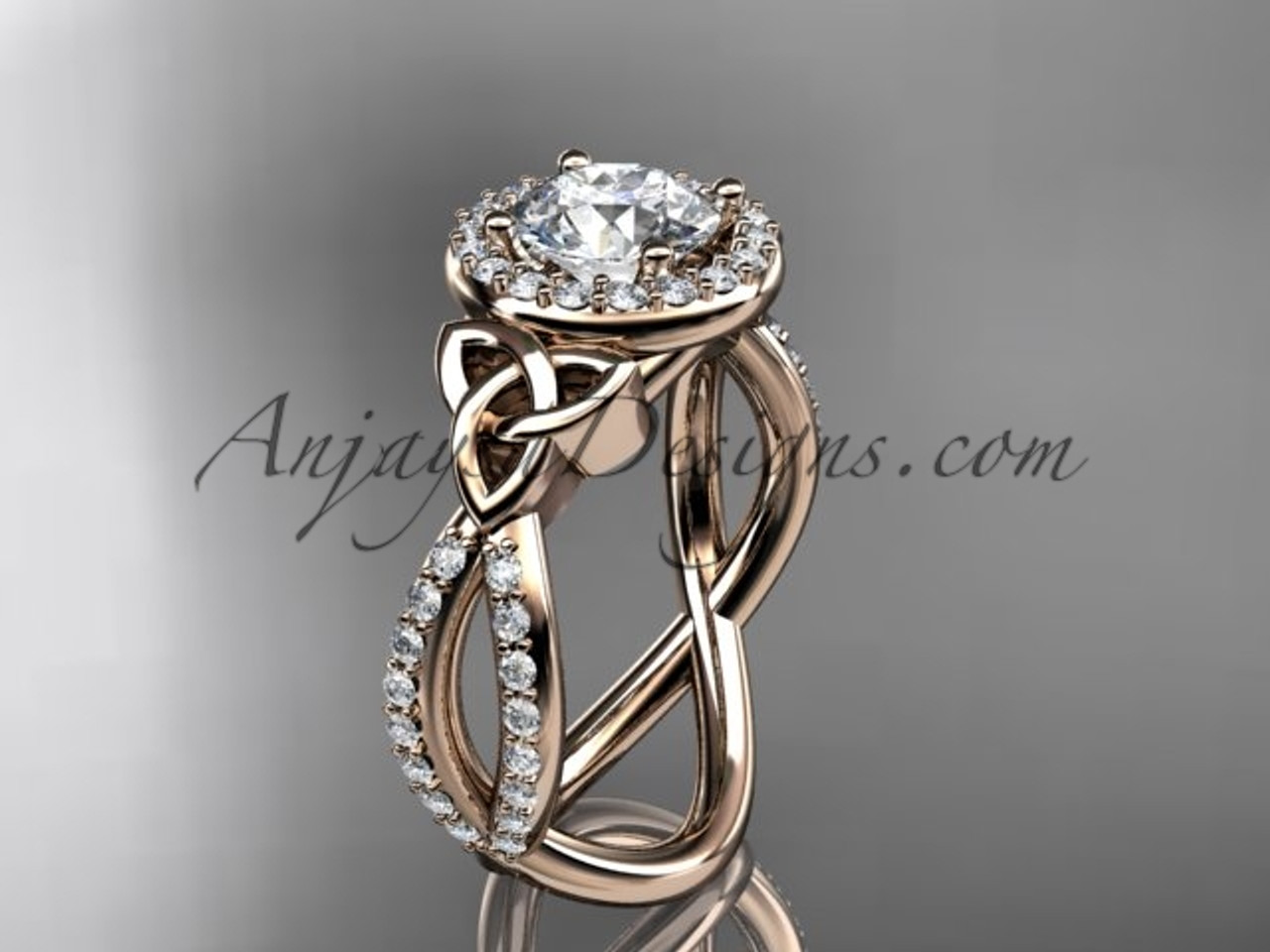 14kt rose gold diamond celtic trinity knot engagement ring wedding band