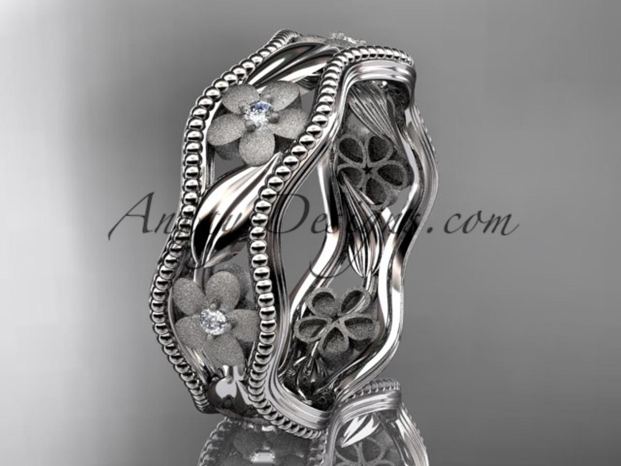 platinum diamond flower wedding ring engagement ring wedding band