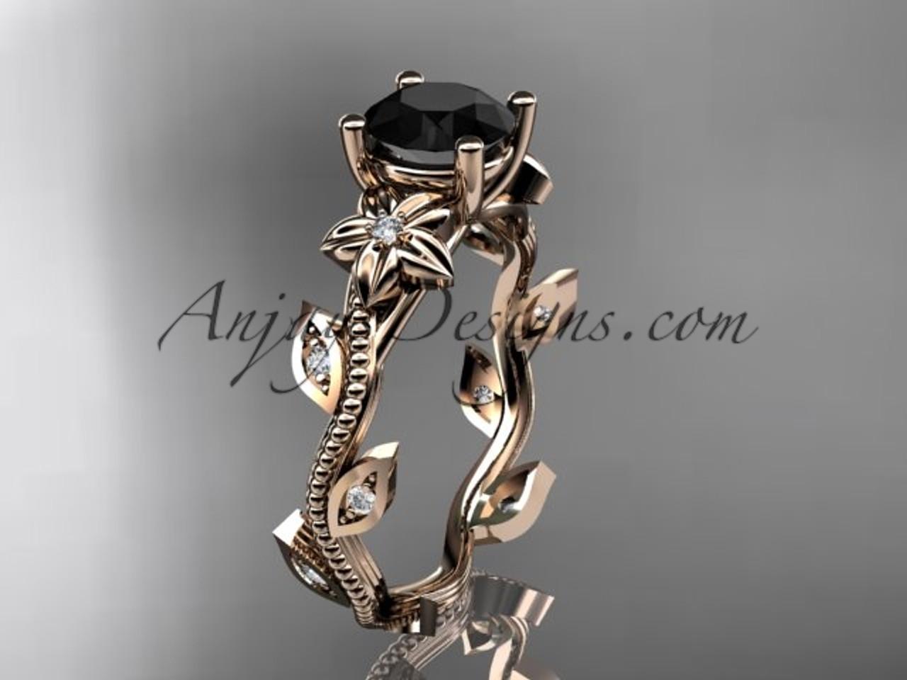Rose Gold Flower Black Diamond Ring For Women Adlr151
