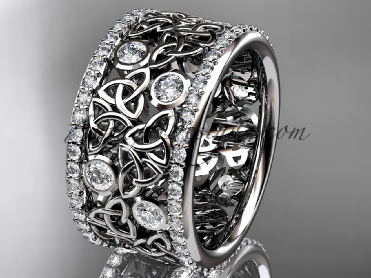 Diamond Wide Wedding Band White Gold Celtic Ring CT7507B