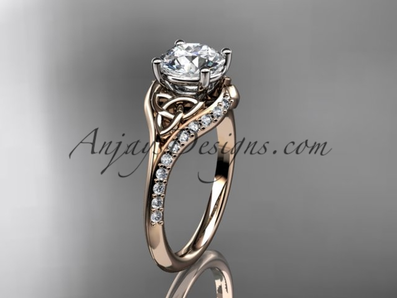 knot three white wedding platinum forever ring diamond engagement band brilliant moissanite stone rings celtic trinity gold