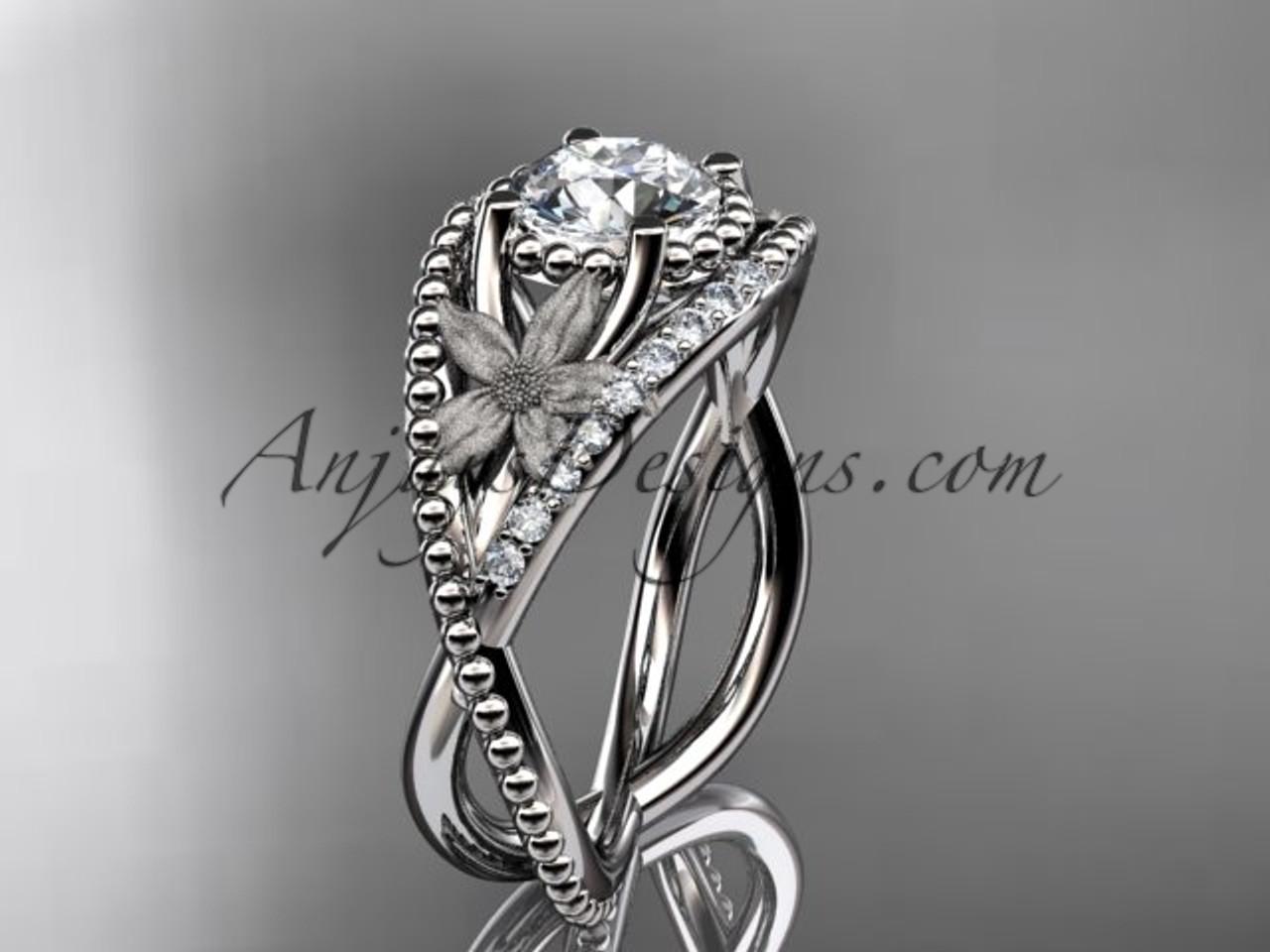 14kt White Gold Diamond Floral Wedding Ring Engagement Ring