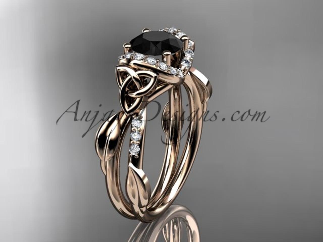 Gold Black Diamond Irish Celtic Engagement Ring CT7274