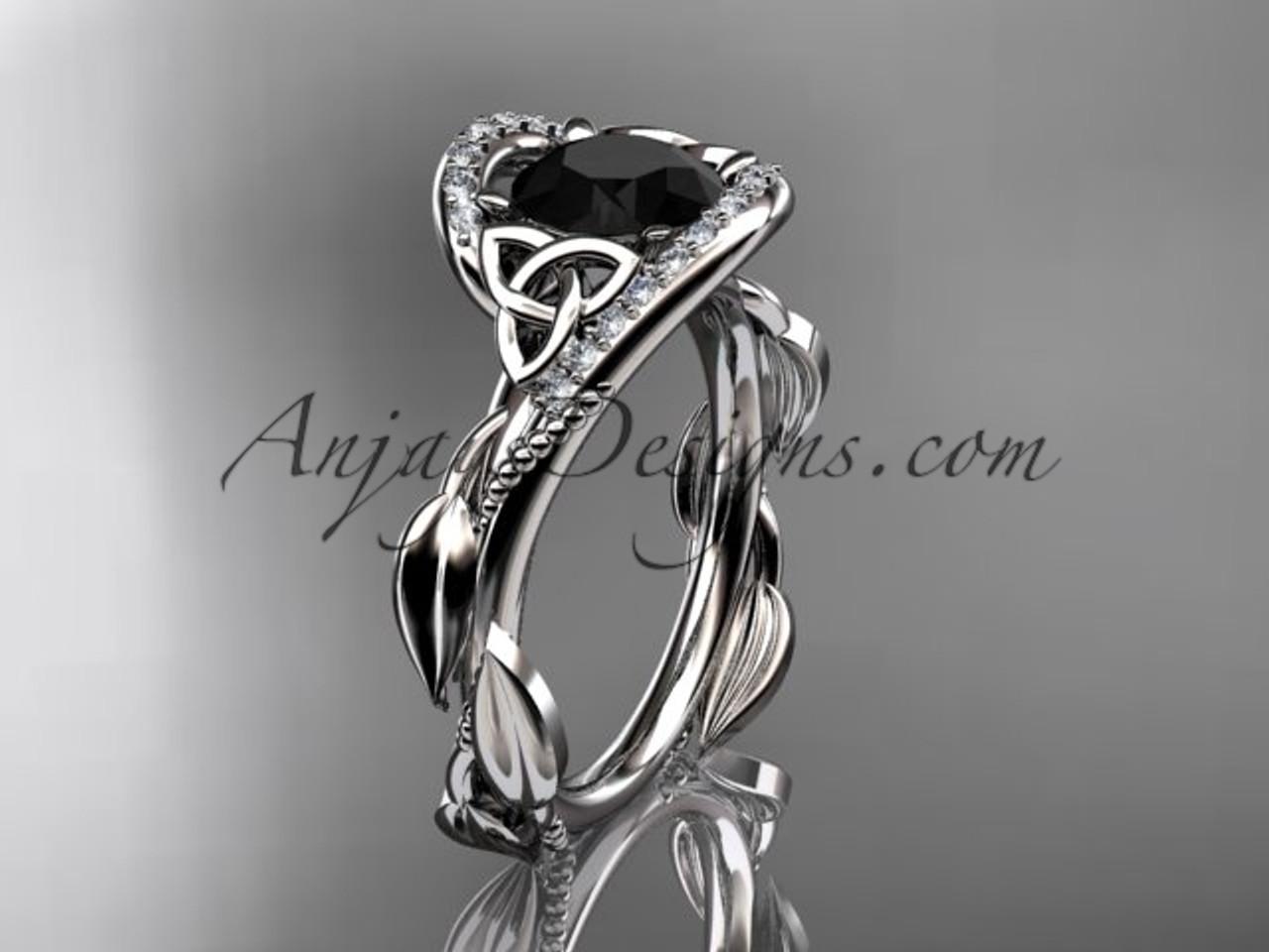 Scottish Celtic Wedding Ring White Gold Black Diamond CT764