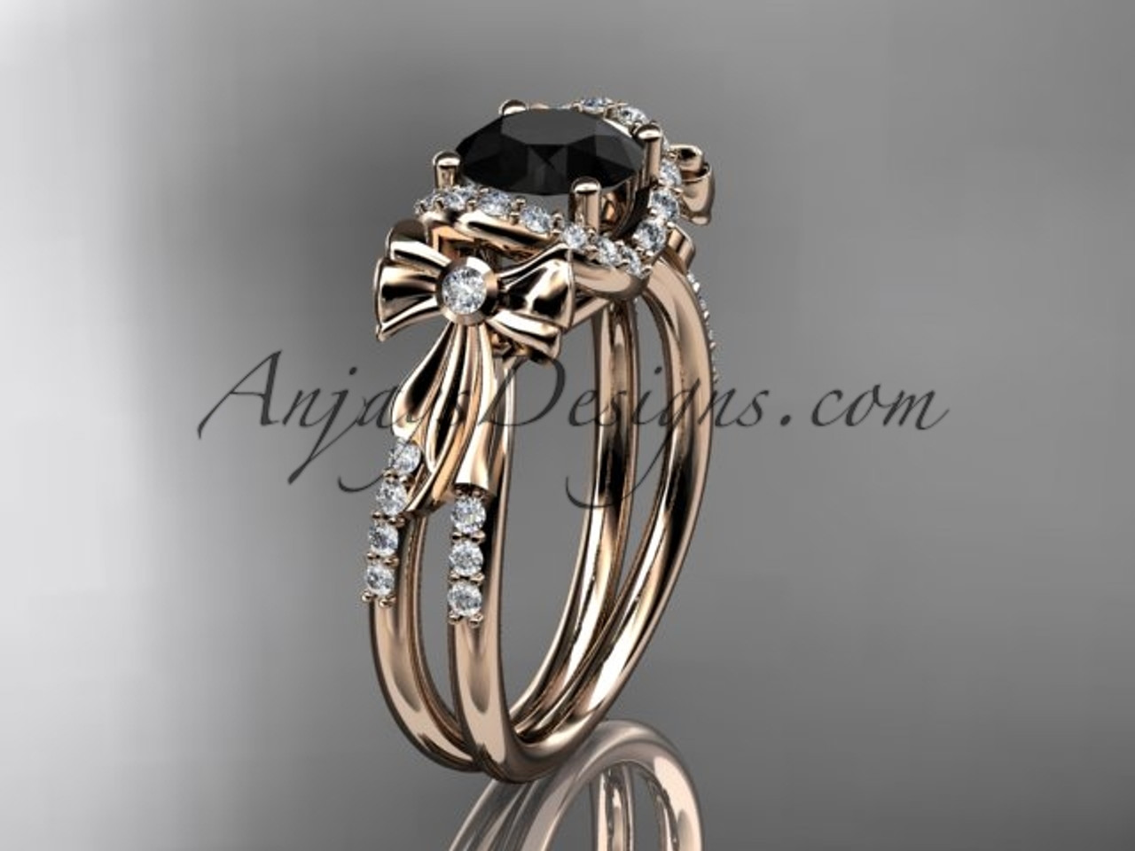 14kt Rose Gold Diamond Unique Engagement Ring, Bow Ring, Wedding Ring With  A Black