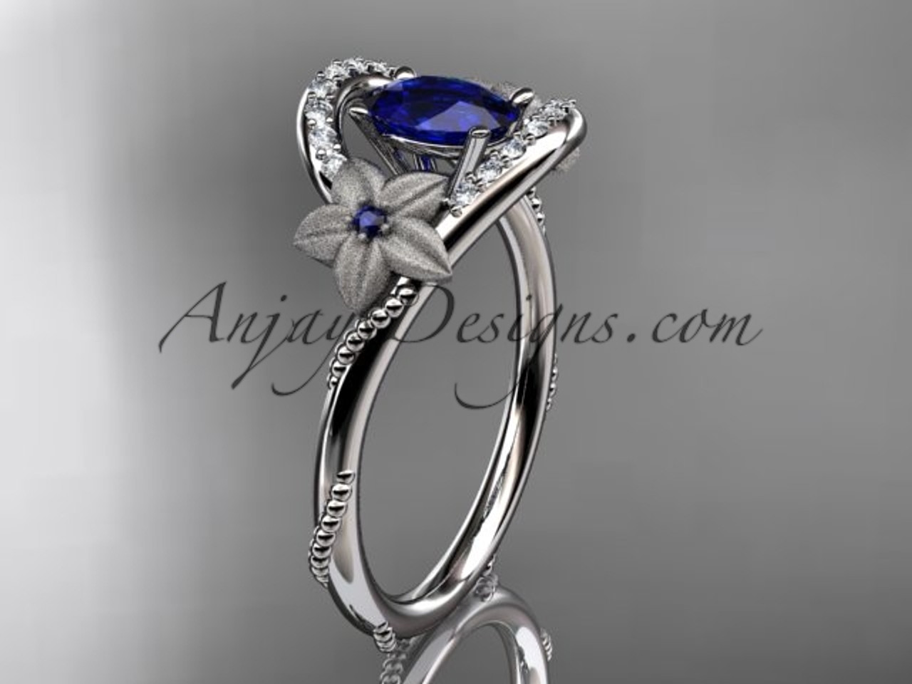 White Gold Diamond Floral Ring Blue Sapphire Bridal Ring
