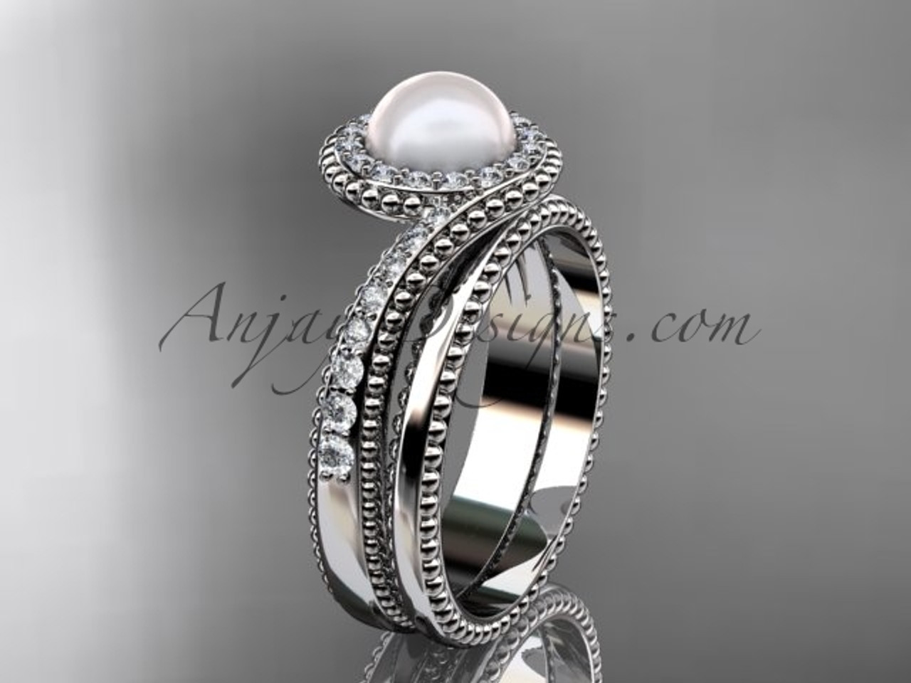 14kt White Gold Pearl and Diamond Bridal Set AP379S