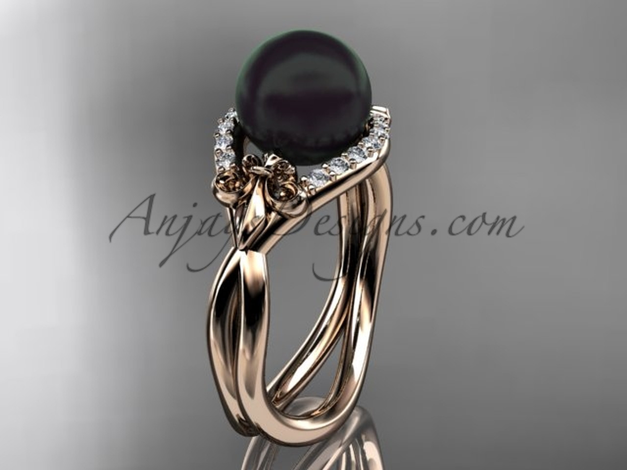 Round Rose Gold Enement Rings | 14kt Rose Gold Diamond Fleur De Lis Round Tahitian Black Cultured
