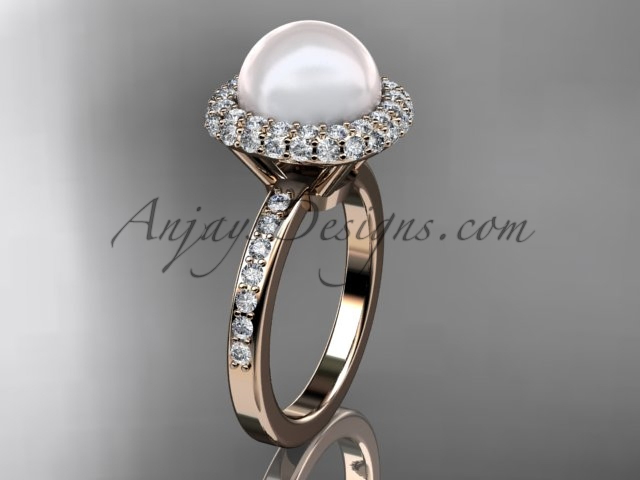 Unique 14kt rose gold diamond Pearl engagement ring VP10015 ...