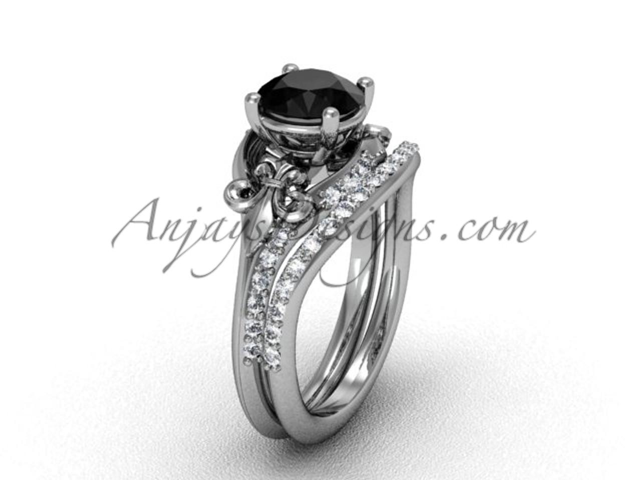 Platinum diamond Fleur de Lis wedding band engagement ring
