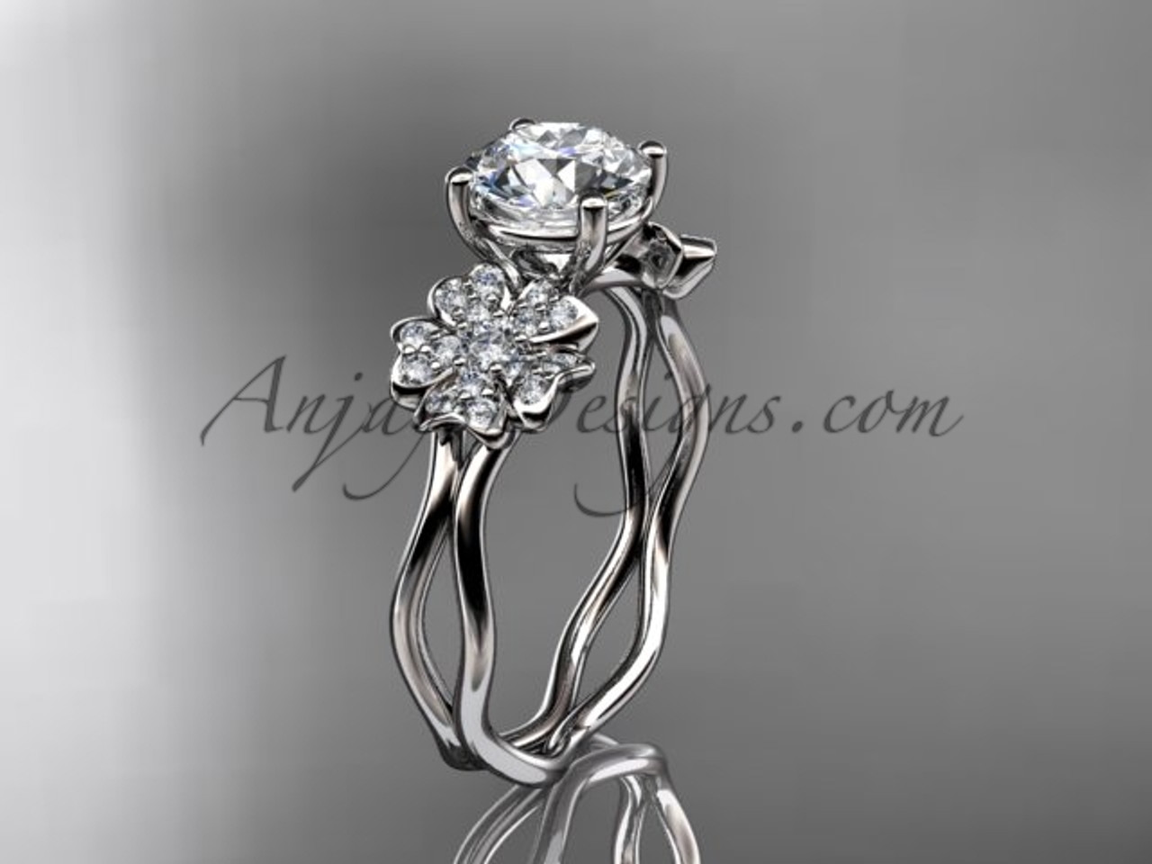 Platinum gold cherry blossom flower engagement ring vd8019 junglespirit Images