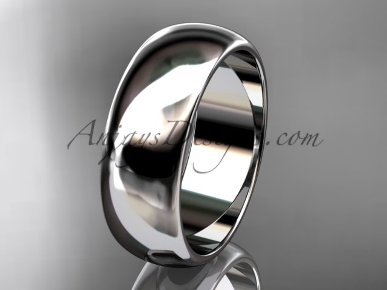 14k white gold traditional 7mm wide wedding band WB50107G
