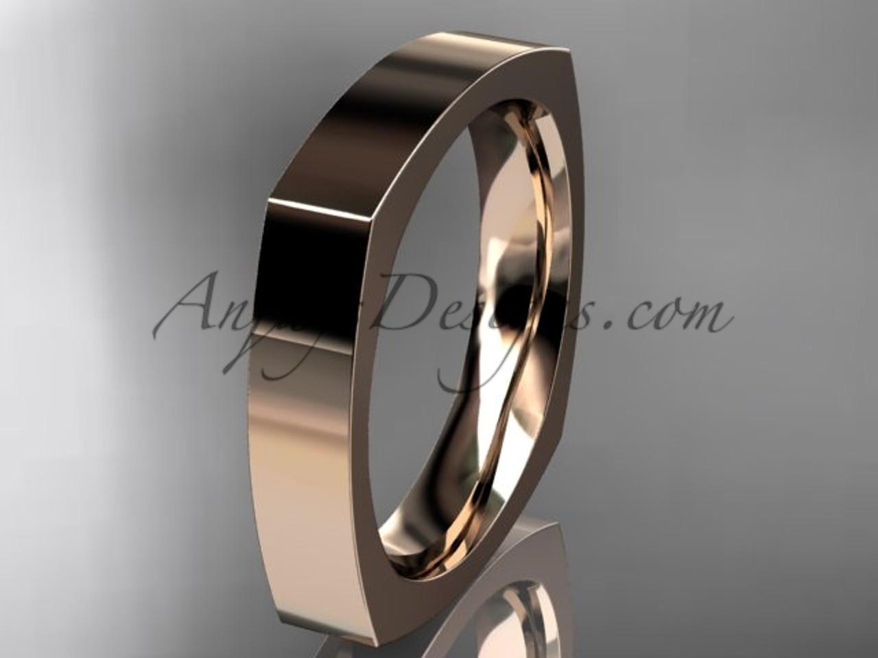 14k Rose Gold Square Wedding Band 4mm Wb50604g