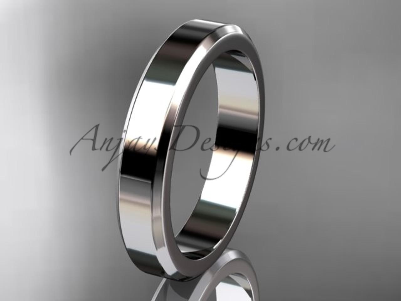14kt White Gold 4mm plain wedding band for men WB50704G