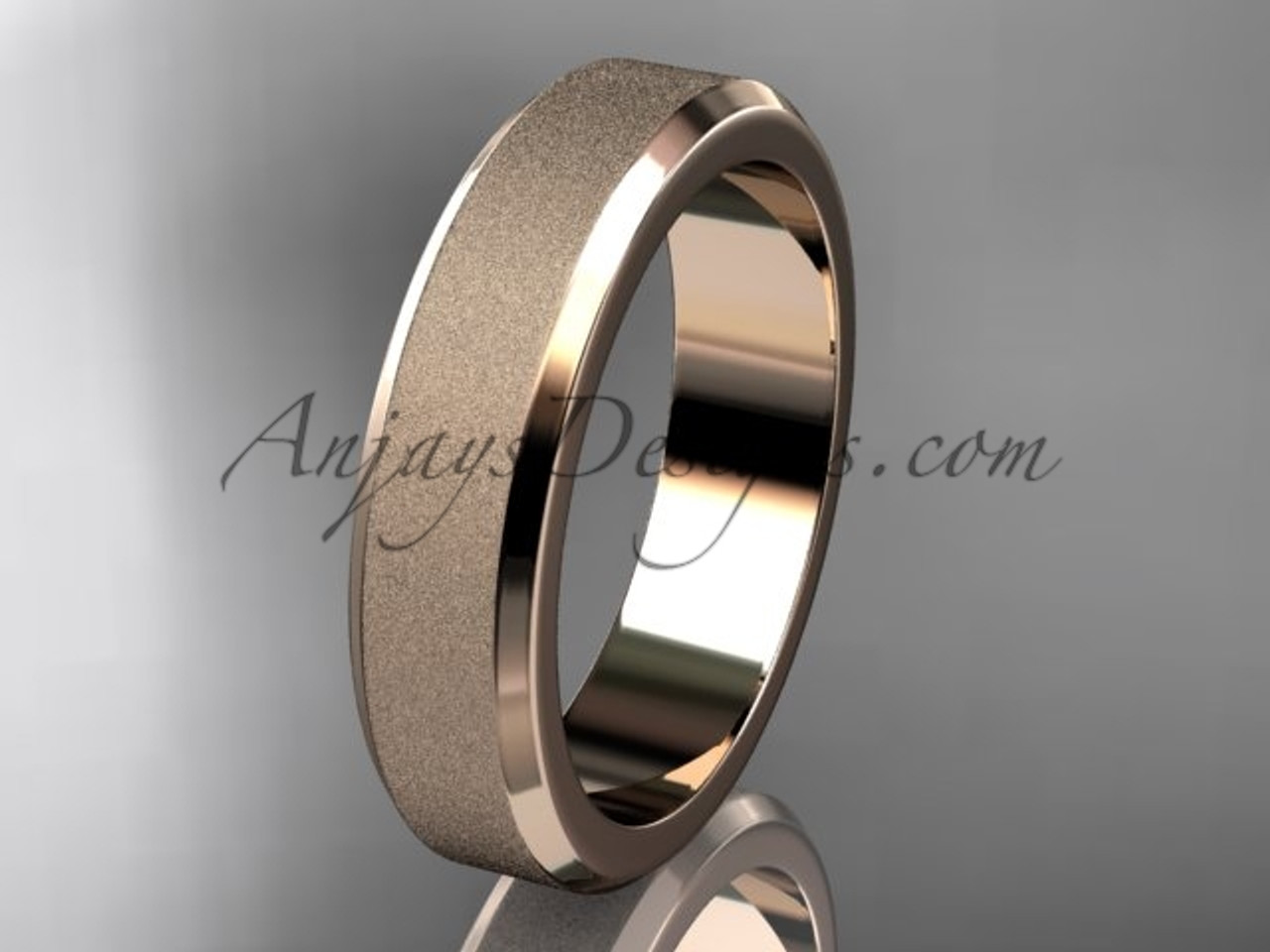 wedding engagement band men rope for wide plain mate rose matte diamond finish rings gold ring