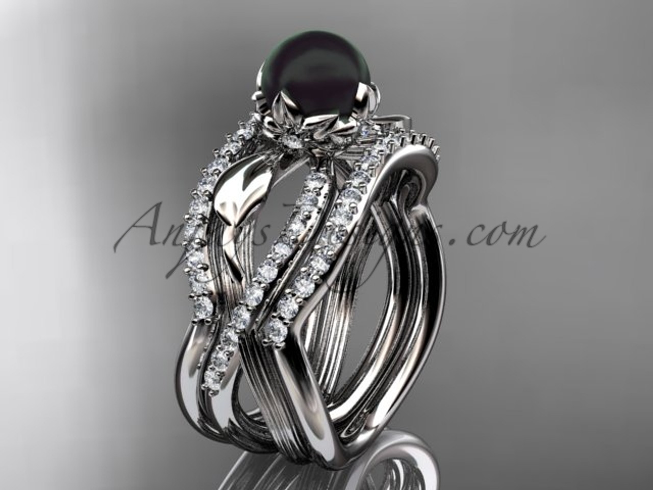 Shop for unique tahitian black pearl wedding ring sets online at anjaysdesigns.com Free shipping. Platinum tahitian black pearl flower bridal ring set ABP70S