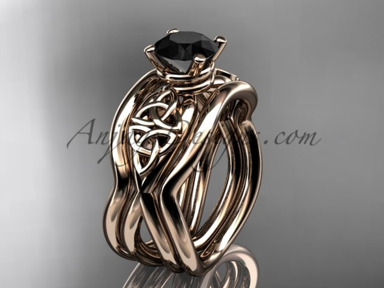 Rose Gold Black Diamond Celtic Wedding Ring Set CT770S