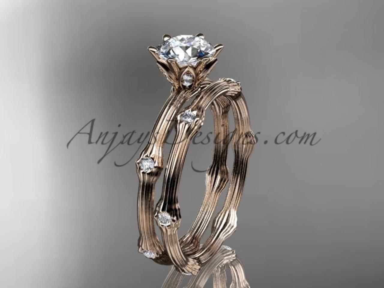Wedding Ring Set Rose Gold Diamond Ring ADLR38S