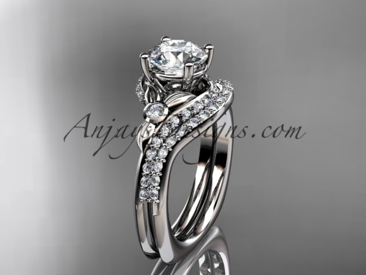 14kt white gold diamond leaf and vine engagement ring set with