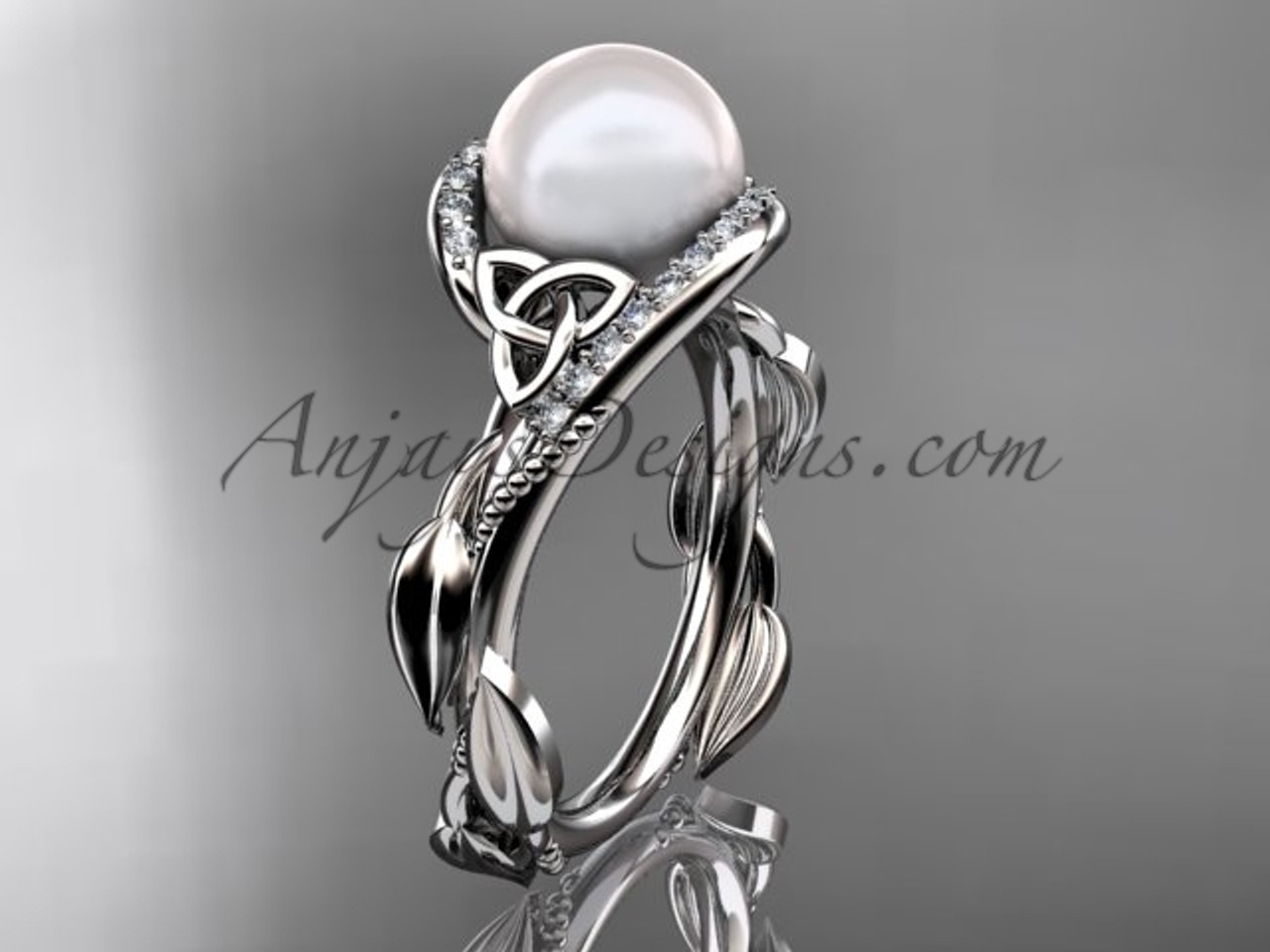 Celtic Knot Wedding Rings Platinum Pearl Ring CTP764