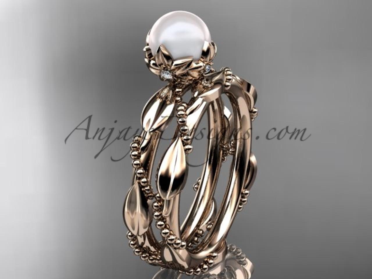 Unique Pearl Engagement Ring Set Rose Gold Set Ap178s