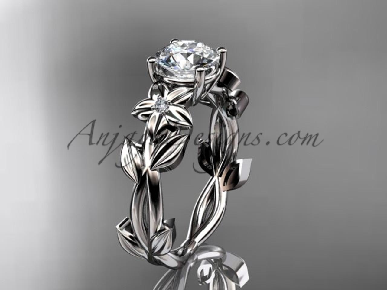 Flower Engagement Rings White Gold Wedding Ring ADLR424
