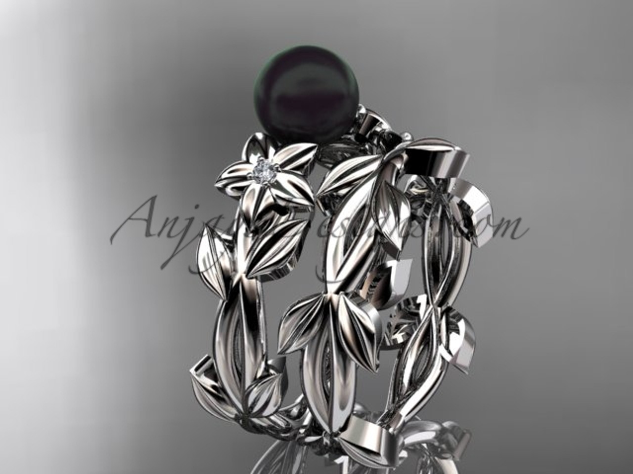 White Gold Tahitian Black Pearl Wedding Ring Sets Abp424s