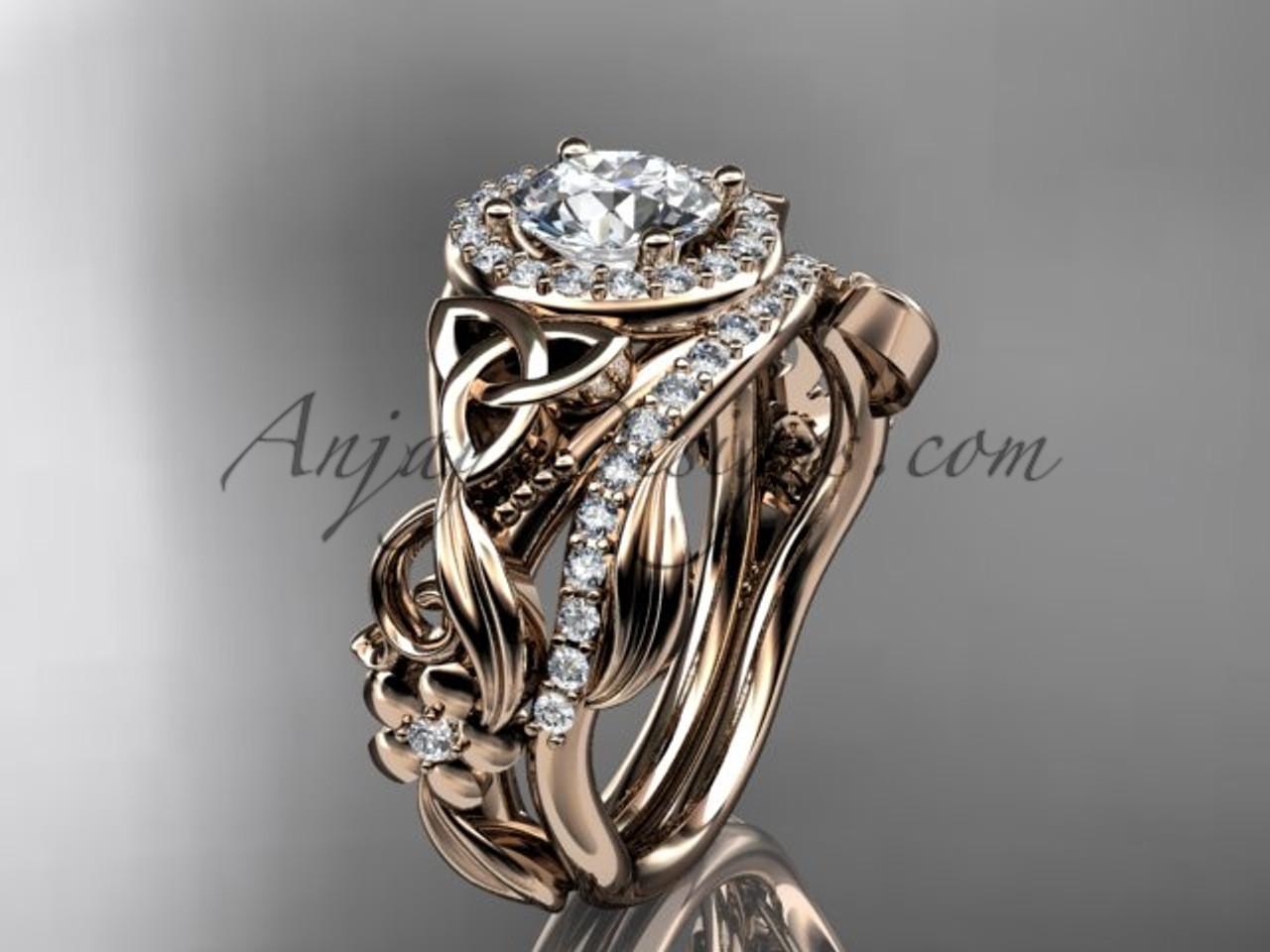 Celtic Wedding Ring Sets Rose Gold Diamond Ring Ct7300s